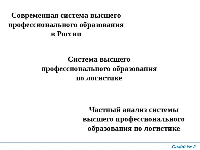Слайд № * Современная система высшего профессионального образования в России ...