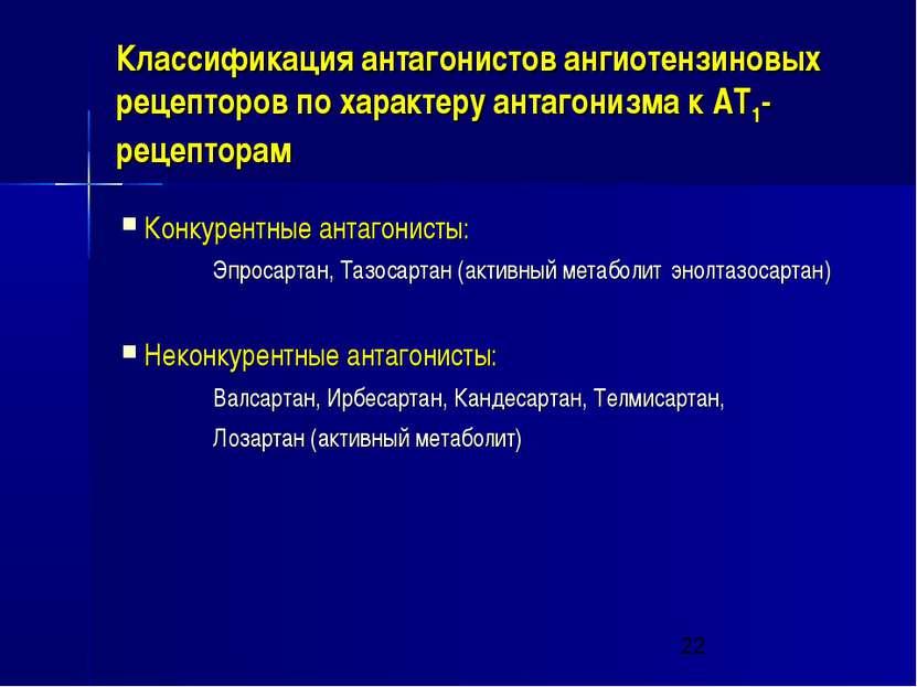 Классификация антагонистов ангиотензиновых рецепторов по характеру антагонизм...