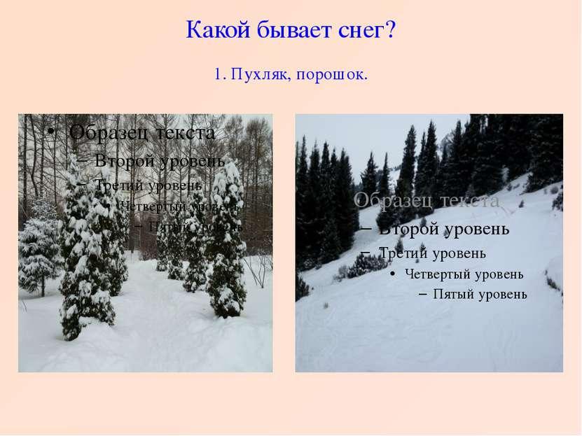 Какой бывает снег? 1. Пухляк, порошок.