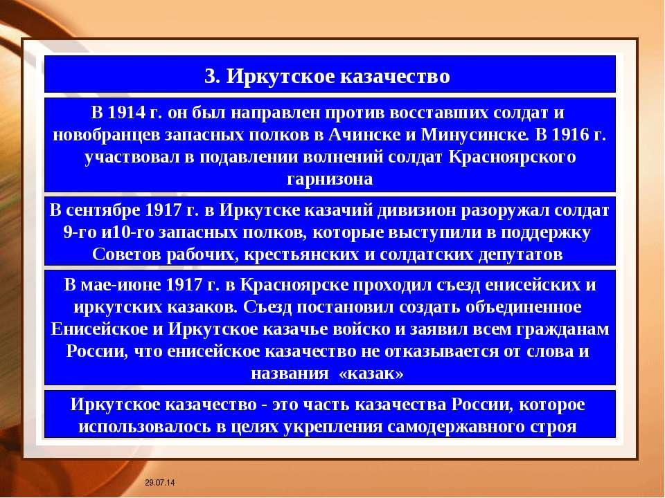 * 3. Иркутское казачество В 1914 г. он был направлен против восставших солдат...