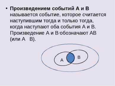 Произведением событий А и В называется событие, которое считается наступившим...