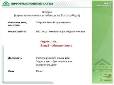(адрес, тел. E-mail - обязательно!) Фамилия, имя, отчество Петрова Анна Влади...