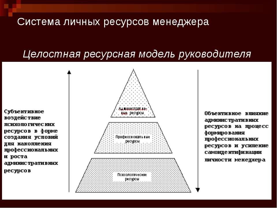 Система личных ресурсов менеджера Целостная ресурсная модель руководителя