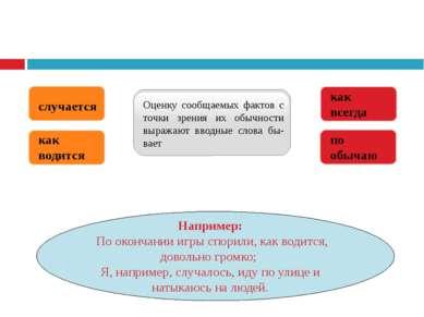 Оценку сообщаемых фактов с точки зрения их обычности выражают вводные слова б...