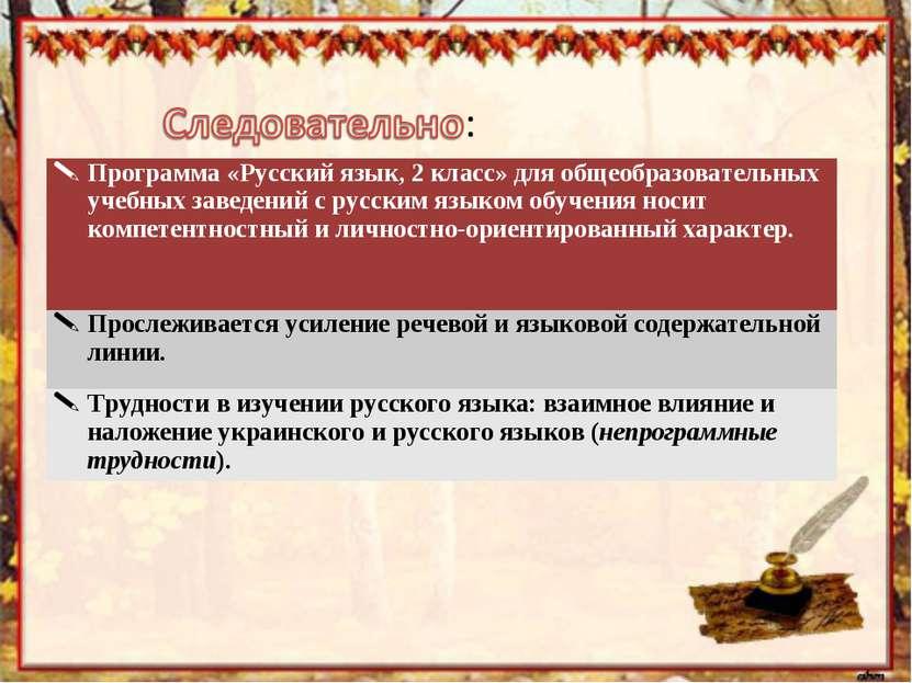 Программа «Русский язык, 2 класс» для общеобразовательных учебных заведений с...