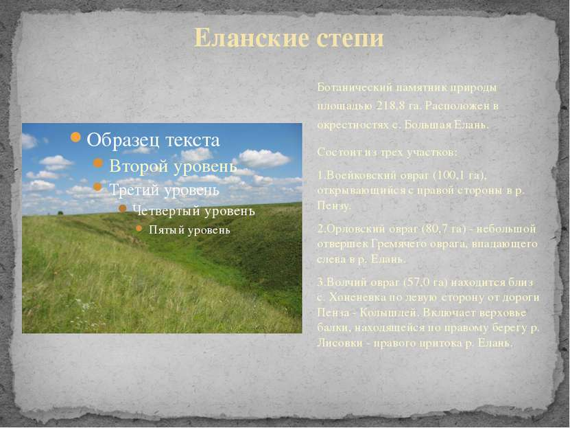 Ботанический памятник природы площадью 218,8 га. Расположен в окрестностях с....