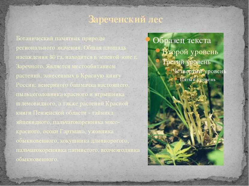 Ботанический памятник природы регионального значения. Общая площадь насаждени...
