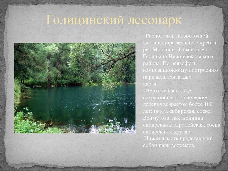 Голицинский лесопарк Расположен на восточной части водораздельного хребта рек...