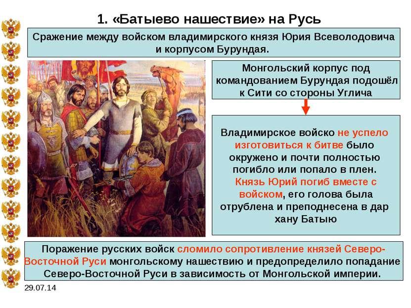 * 1. «Батыево нашествие» на Русь Сражение между войском владимирского князя Ю...