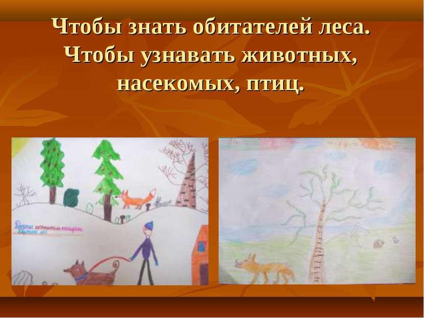 Чтобы знать обитателей леса. Чтобы узнавать животных, насекомых, птиц.