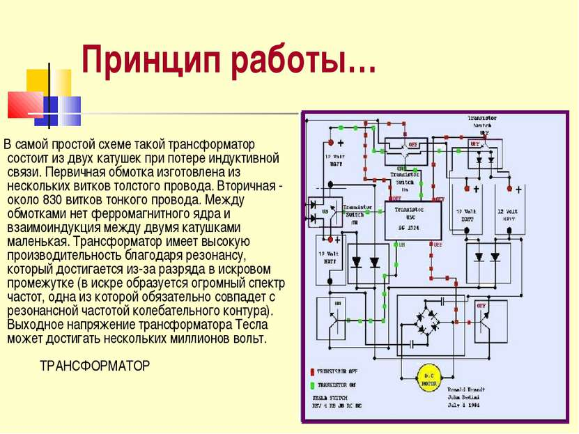 Принцип работы… В самой простой схеме такой трансформатор состоит из двух кат...