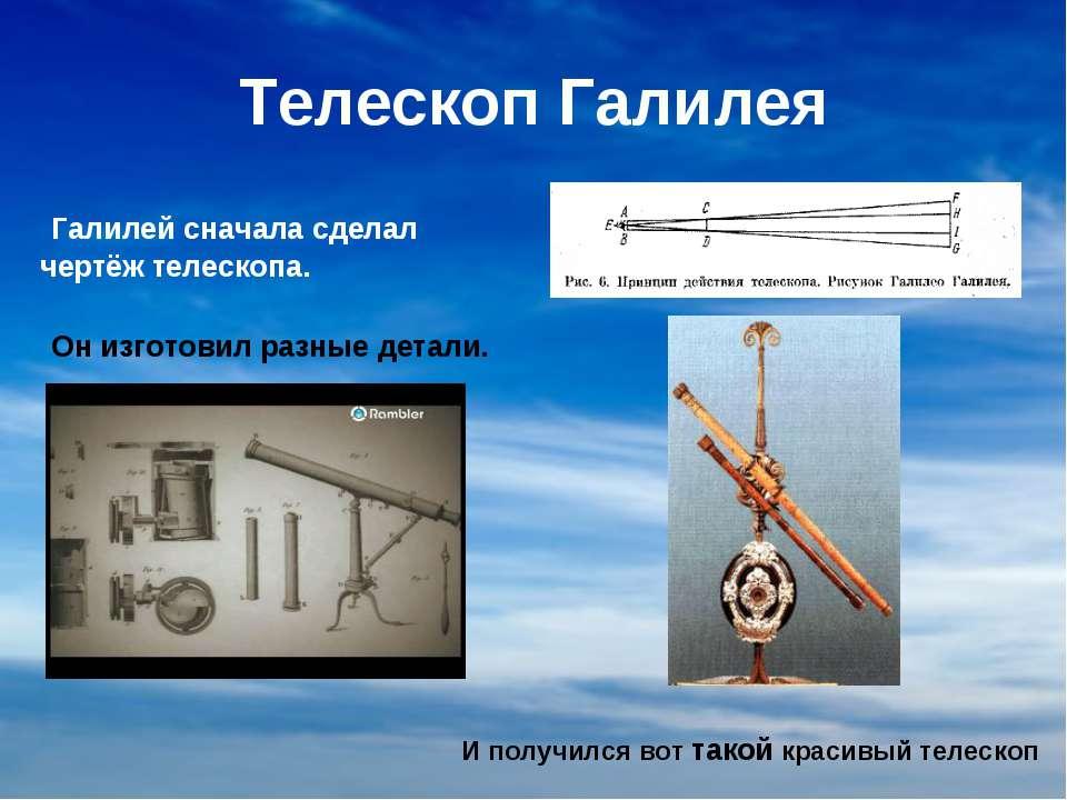 Телескоп Галилея Галилей сначала сделал чертёж телескопа. Он изготовил разные...