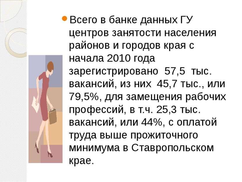 Всего в банке данных ГУ центров занятости населения районов и городов края с ...