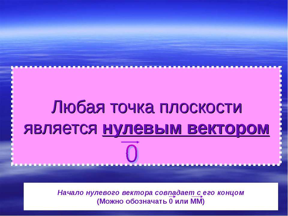 Любая точка плоскости является нулевым вектором Начало нулевого вектора совпа...