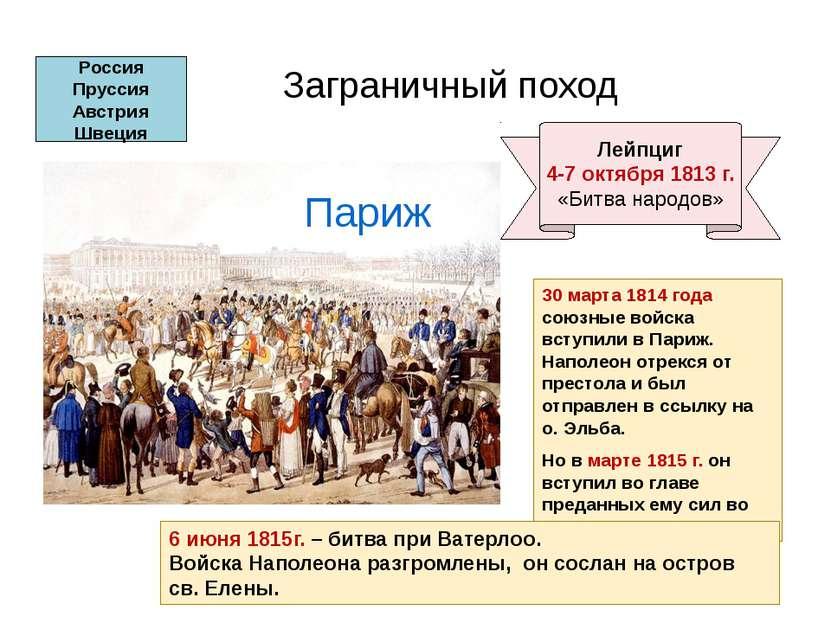 30 марта 1814 года союзные войска вступили в Париж. Наполеон отрекся от прест...