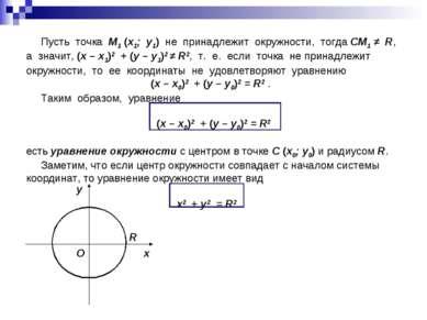 Пусть точка M1 (x1; y1) не принадлежит окружности, тогда СM1 ≠ R, а значит, (...