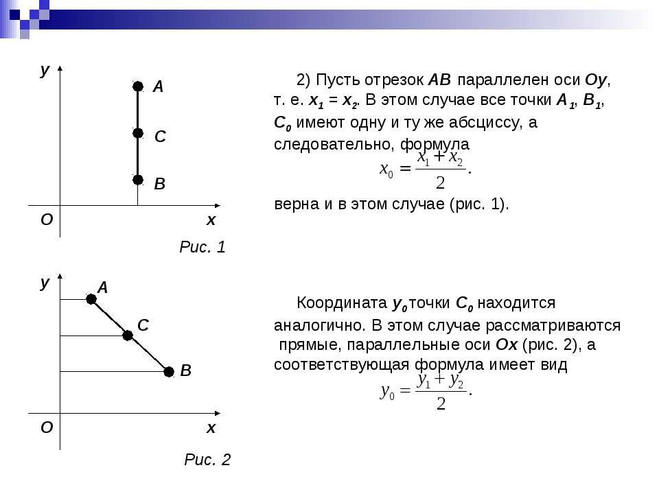 2) Пусть отрезок AB параллелен оси Oy, т. е. x1 = x2. В этом случае все точки...