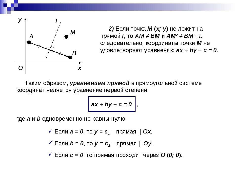 2) Если точка M (x; y) не лежит на прямой l, то AM ≠ BM и AM2 ≠ BM2, а следов...