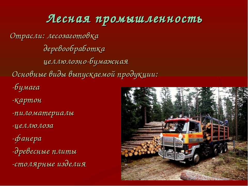 Лесная промышленность Отрасли: лесозаготовка деревообработка целлюлозно-бумаж...