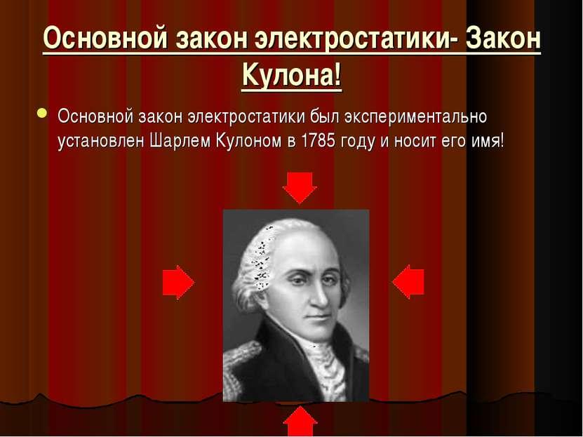 Основной закон электростатики- Закон Кулона! Основной закон электростатики бы...