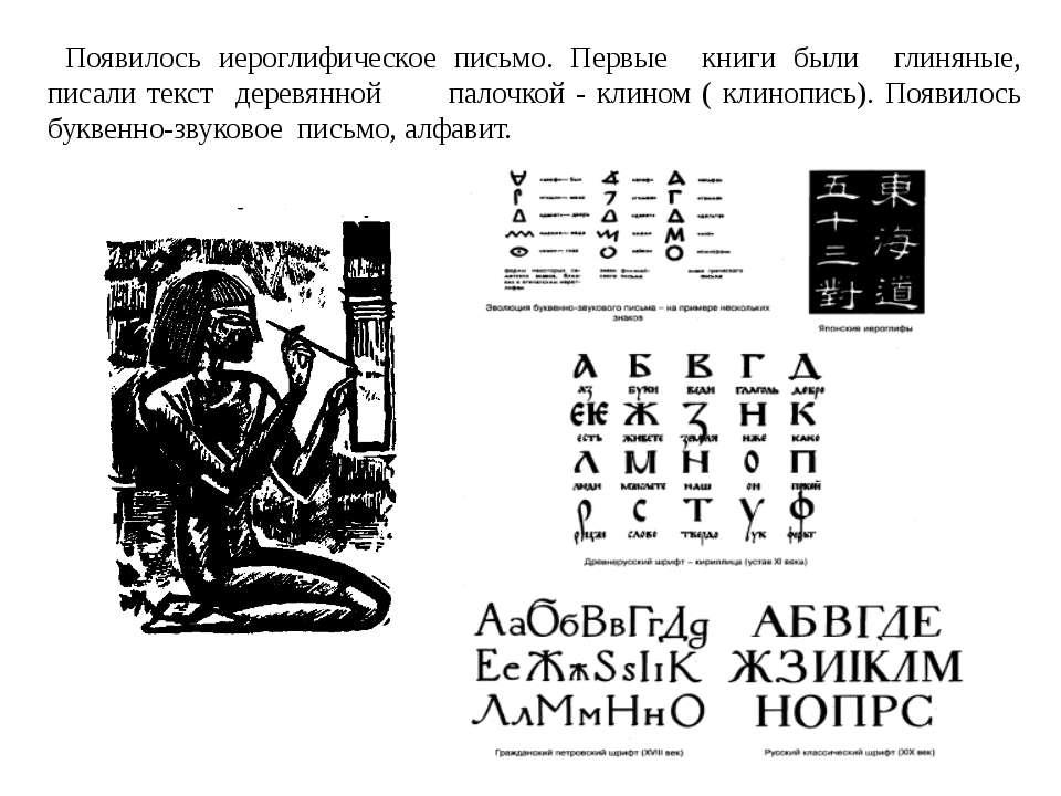 Появилось иероглифическое письмо. Первые книги были глиняные, писали текст де...