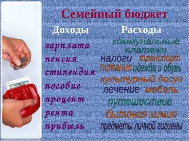 Семейный бюджет Доходы Расходы зарплата пенсия стипендия пособие процент рент...