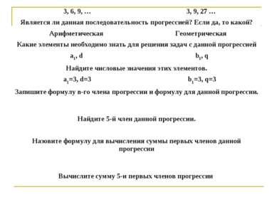 3, 6, 9, … 3, 9, 27 … Является ли данная последовательность прогрессией? Если...