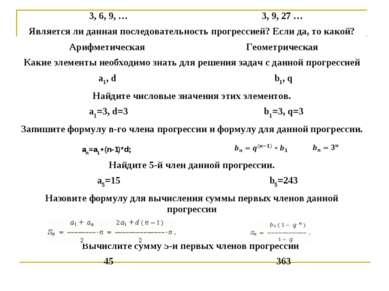 an=a1+(n-1)*d; 3, 6, 9, … 3, 9, 27 … Является ли данная последовательность пр...