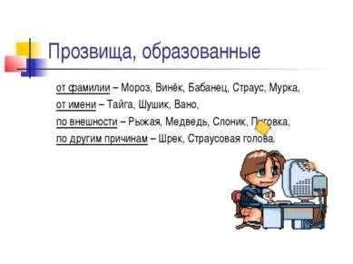Прозвища, образованные от фамилии – Мороз, Винёк, Бабанец, Страус, Мурка, от ...