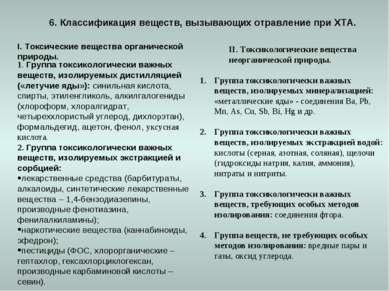 6. Классификация веществ, вызывающих отравление при ХТА. I. Токсические вещес...