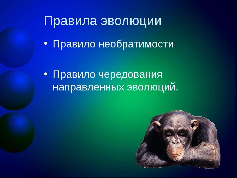 Правила эволюции Правило необратимости Правило чередования направленных эволю...