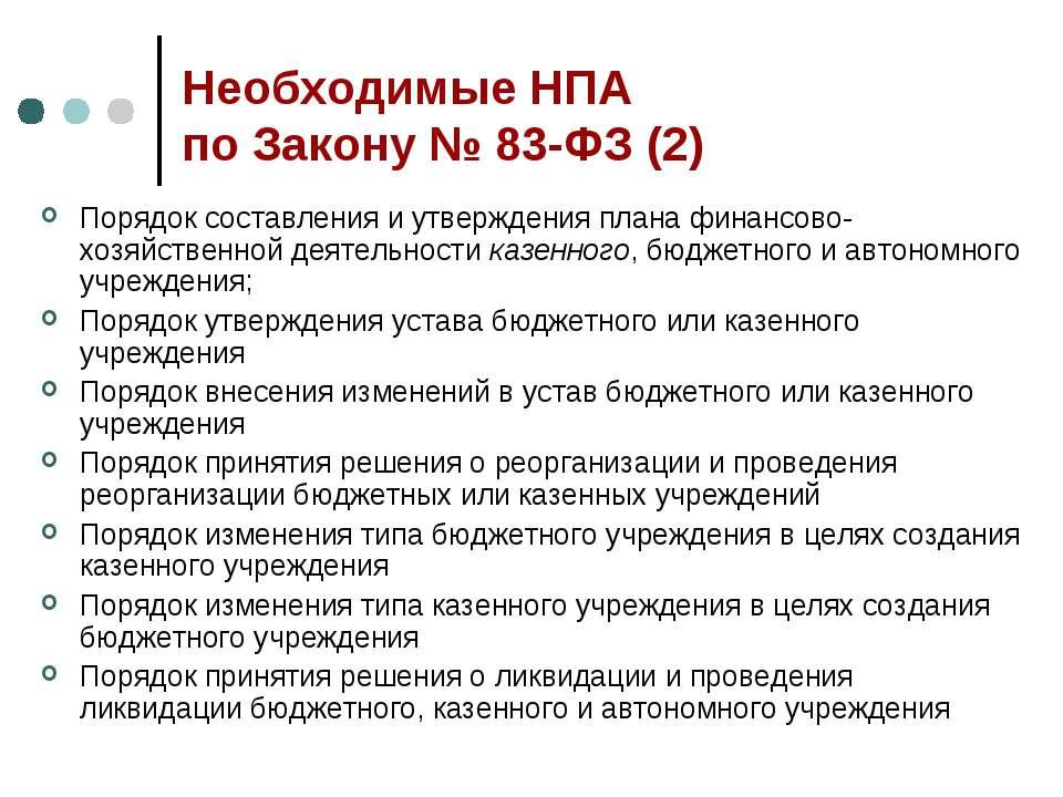 Необходимые НПА по Закону № 83-ФЗ (2) Порядок составления и утверждения плана...