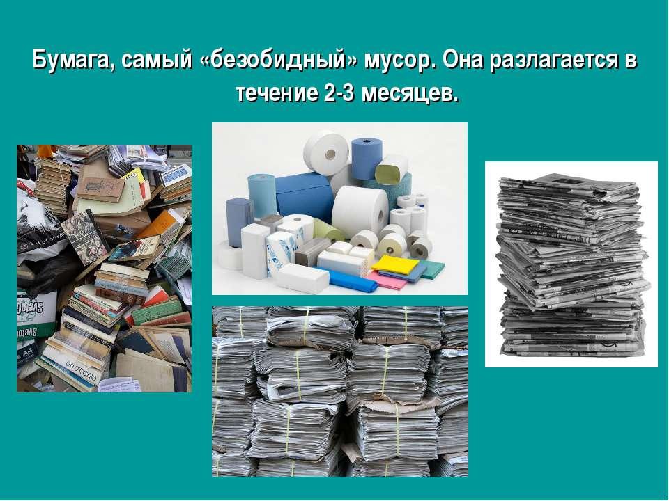 Бумага, самый «безобидный» мусор. Она разлагается в течение 2-3 месяцев.