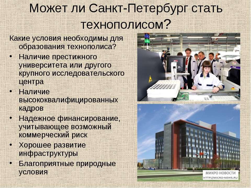 Может ли Санкт-Петербург стать технополисом? Какие условия необходимы для обр...