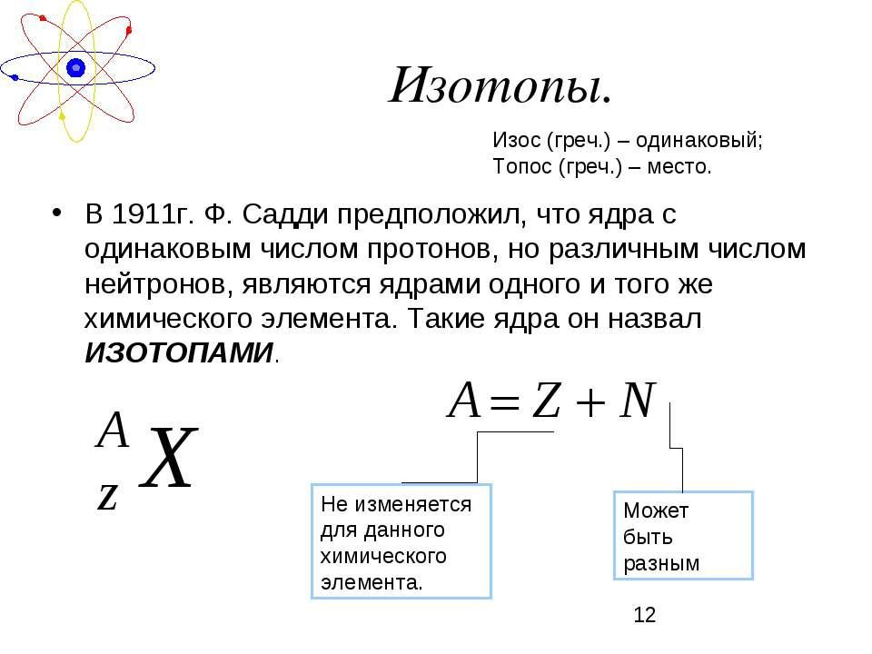 Изотопы. В 1911г. Ф. Садди предположил, что ядра с одинаковым числом протонов...