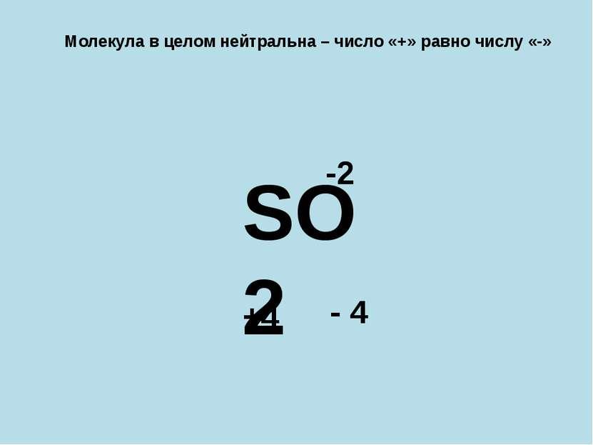 Молекула в целом нейтральна – число «+» равно числу «-» SO2 -2 +4 - 4 +4