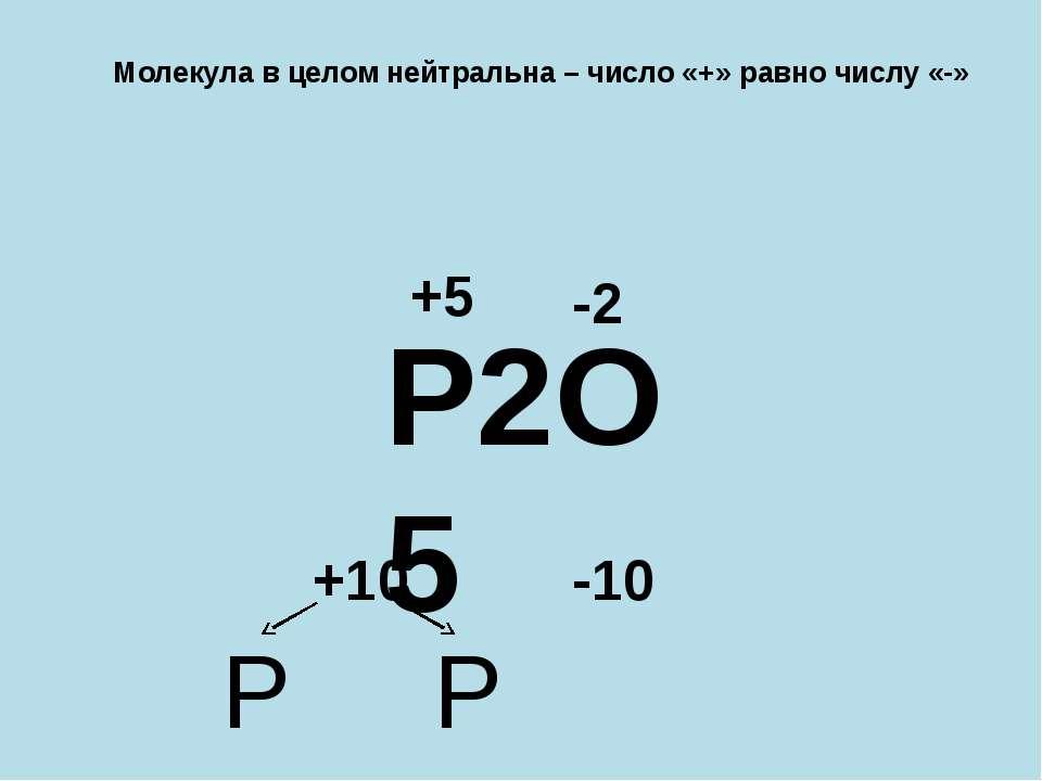 Молекула в целом нейтральна – число «+» равно числу «-» P2O5 -2 -10 +10 P P +5