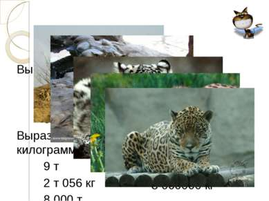 Вырази в граммах: 2 кг 030 г 6 ц 6 ц 05 кг Вырази в килограммах: 9 т 2 т 056 ...