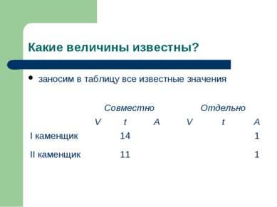 Какие величины известны? заносим в таблицу все известные значения