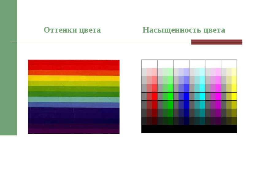 Оттенки цвета Насыщенность цвета
