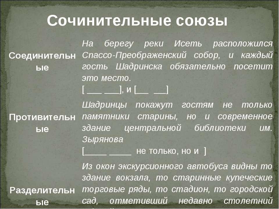 Сочинительные союзы Соединительные На берегу реки Исеть расположился Спассо-П...