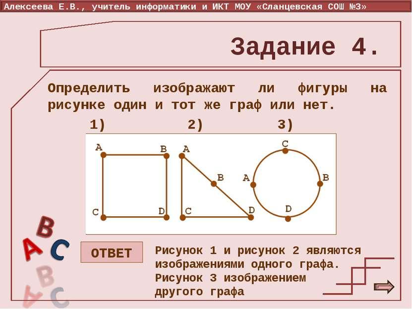 Задание 4. Определить изображают ли фигуры на рисунке один и тот же граф или ...