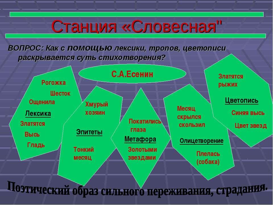 """Станция «Словесная"""" ВОПРОС: Как с помощью лексики, тропов, цветописи раскрыва..."""