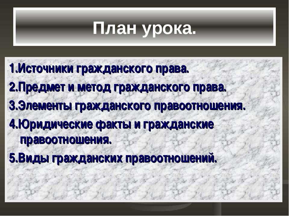 План урока. 1.Источники гражданского права. 2.Предмет и метод гражданского пр...