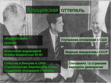 Улучшение отношений с США Мирные инициативы СССР Отношения со странами народн...