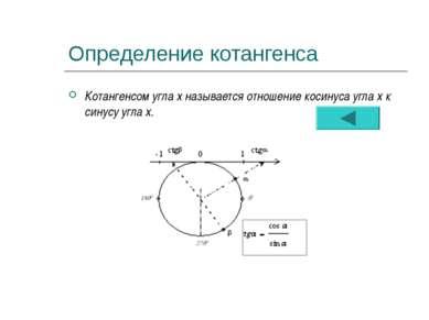 Определение котангенса Котангенсом угла х называется отношение косинуса угла ...