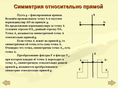 Симметрия относительно прямой Пусть g – фиксированная прямая. Возьмём произво...