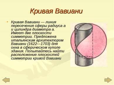 Кривая Вавиани Кривая Вавиани — линия пересечения сферы радиуса а и цилиндра ...