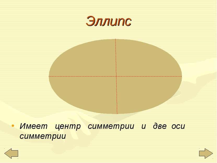 Эллипс Имеет центр симметрии и две оси симметрии
