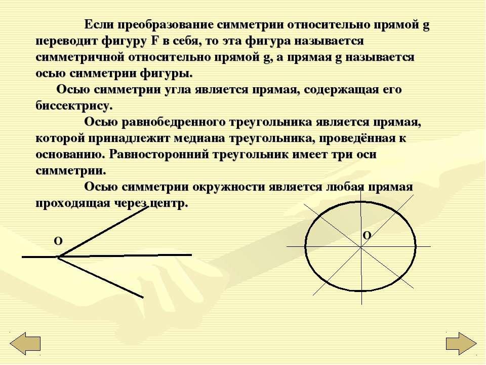 Если преобразование симметрии относительно прямой g переводит фигуру F в себя...